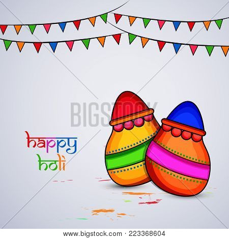 illustration of pots and decoration with happy Holi text on the occasion of Hindu Festival Holi