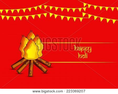 illustration of bonfire and decoration with happy Holi text on the occasion of Hindu Festival Holi