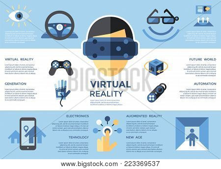 Digital Vector Virtual Augmented Reality Set
