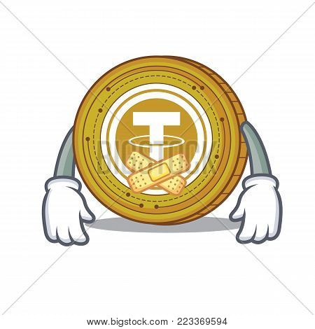 Silent Tether coin mascot cartoon vector illustration