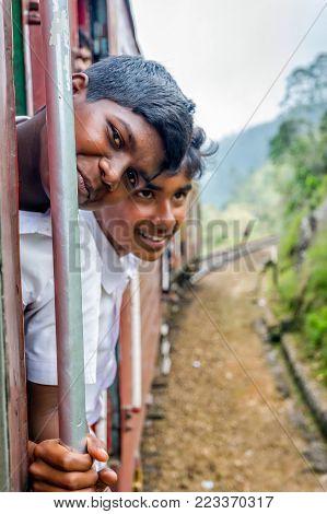 School Kids Traveling By Train