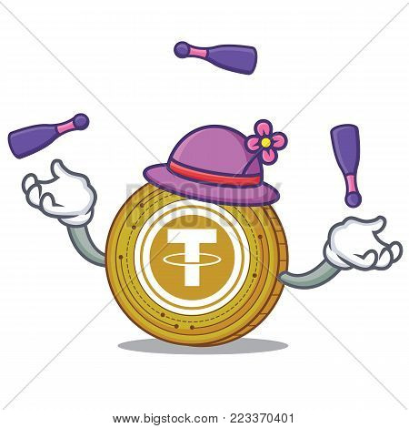 Juggling Tether coin mascot cartoon vector illustration
