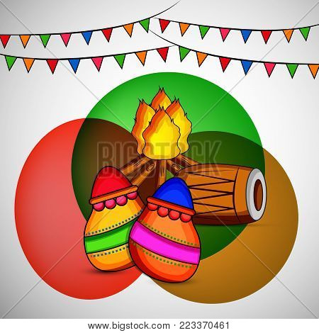 illustration of drum, pots, bonfire and decoration on the occasion of Hindu Festival Holi