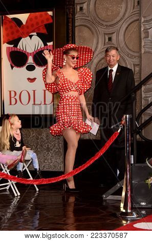 LOS ANGELES - JAN 22:  Katy Perry at the Minnie Mouse Star Ceremony on the Hollywood Walk of Fame on January 22, 2018 in Hollywood, CA