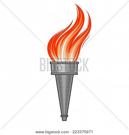 Steel metallic torch with flame in vintage style Symbol of sport and victory in retro graphic manner