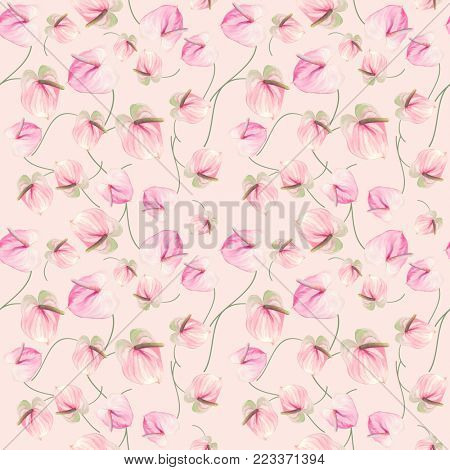 seamless   pattern of Anthurium Flowers . Endless texture for your design.