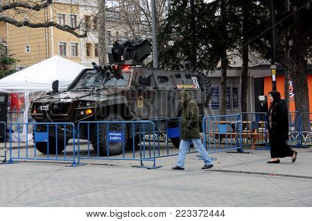 ISTANBUL, TURKEY - 13 JANUARY, 2018: Police vehicle on duty downtown