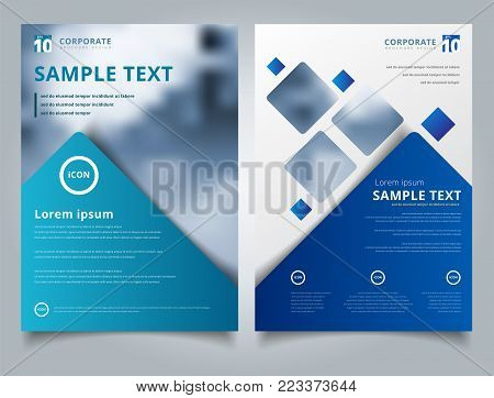 Brochure layout design template, Annual report, Leaflet, Advertising, poster, Magazine, Business for background, Empty copy space, Blue color tone vector illustration artwork A4 size.