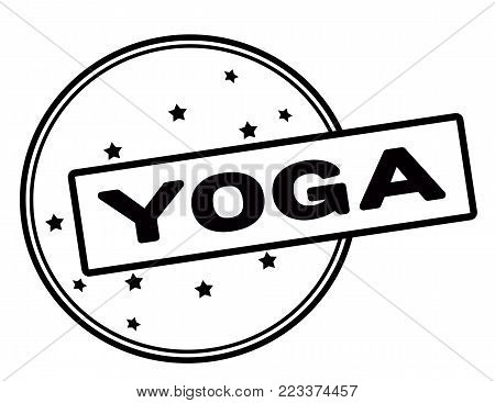 Rubber stamp with word yoga inside, vector illustration