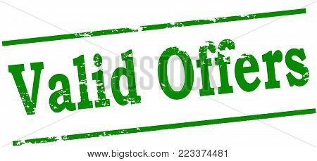 Rubber stamp with text valid offers inside, vector illustration