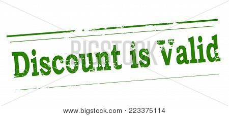Rubber stamp with text discount is valid inside, vector illustration