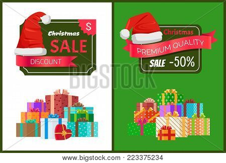Premium quality Christmas sale promo stickers with hat, advert text on ribbon and piles of packed presents wrapped in colored paper bows vector poster
