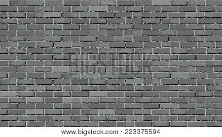 Gray brick wall - Illustration,  Shades of gray brick wall vector,  Realistic light and dark gray color brick wall
