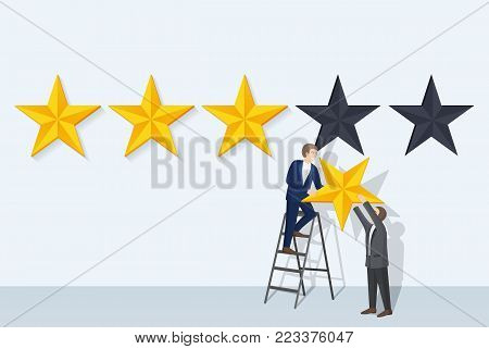 Rating man and big stars, two men holding golden objects, male standing on ladder and taking symbol of success, isolated on vector illustration