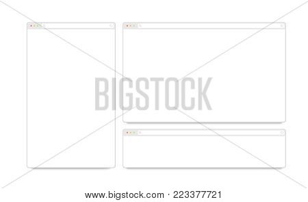Blank white responsive browser window mockups isolated, 3d illustration. Clear flat web page mock up. Empty internet site template. Plain adaptive website screen layout for computer display interface.