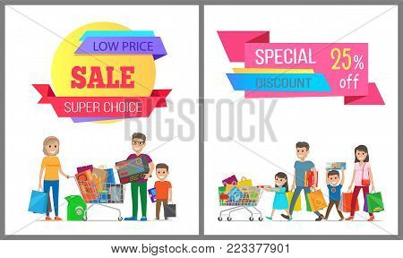 Special discount low price super choice posters, vector illustration of two cute families, wheelbarrows, various purchases, text sample, light field