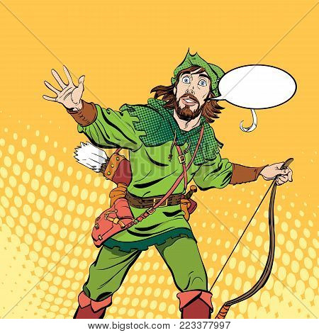 Amazed Robin Hood.  Robin Hood in a hat with feather.  Heroes of medieval legends.