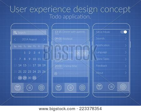 User experience for to do list design concept in blue color flat isolated vector illustration