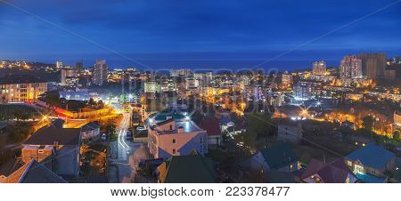 Night panorama of the microdistrict Mamaika. Sochi, Russia