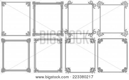 Ornamental corners in different style collection, vintage decorative elements, floral and geometric decor on borders vector illustrations set on white