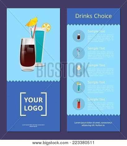 Drinks choice cocktails menu advertisement poster design alcohol drinks with straws and lemon, list of beverages place for your logo design on blue