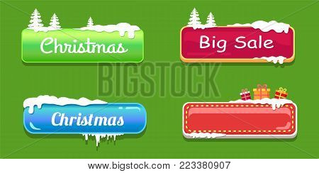 Big sale Christmas glossy empty web push button covered with snow, decorated by trees and gift boxes vector online shopping signs isolated on green