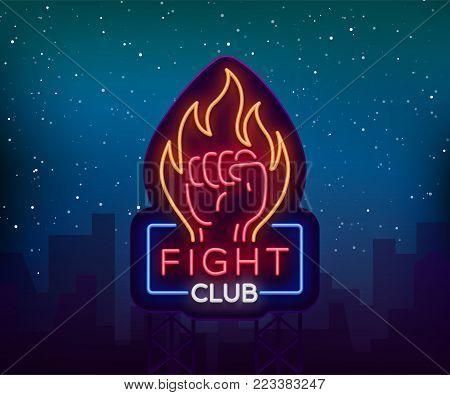 Fight neon sign, light night billboard, isolated vector illustration Neon banner, night-threatening promotional emblem.