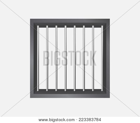 Way out to freedom concept. Prison grid vector