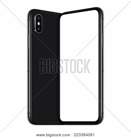 Black turned similar to iPhone X smartphones mockup. New modern black frameless smartphones mockup with blank white screen and back side facing each other. Isolated on white background. 3D illustration.
