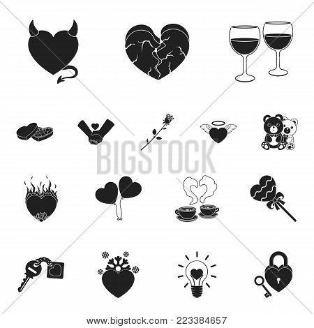 Romantic relationship black icons in set collection for design. Love and friendship vector symbol stock  illustration.