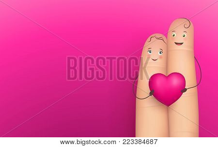 Two happy fingers holding heart, realistic, pink background, copy space. Vector illustration of sense message. Concept image of romance, tenderness, feeling