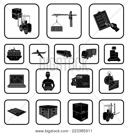 Logistics and delivery black icons in set collection for design. Transport and equipment isometric vector symbol stock  illustration.