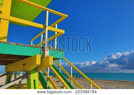 The lifeguard stations on Miami Beach,Florida are designed with vibrant colors in the art deco style.