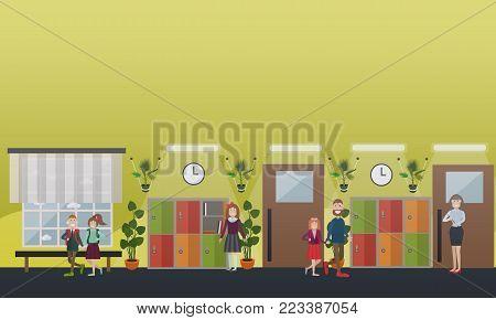 Vector illustration of teacher, school children, father with daughter, school hallway interior with lockers. School concept flat style design elements.