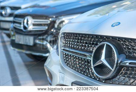 Galati, Romania September, 2017: Mercedes Benz Logo Close Up On A Car Grill. Mercedes-benz Is A Germ