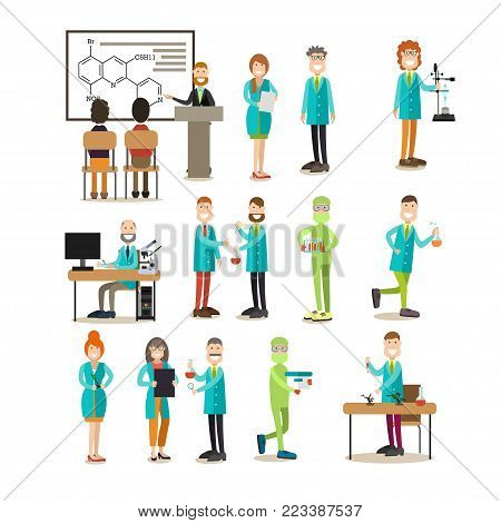 Group of science people vector icon set. Scientists giving lecture, laboratory workers carrying out scientific experiments, medical tests while using lab equipment and glassware. Flat style design.