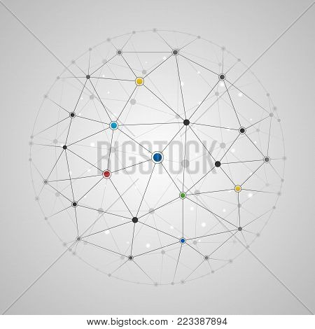 Vector illustration of connected lines and dots round pattern. Global network connection template. Abstract polygonal geometric, medical, technology, science or business background