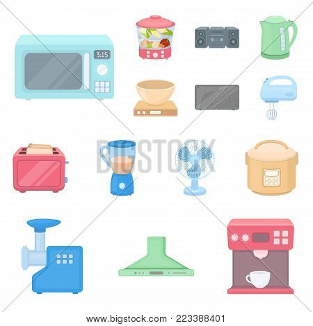 Types of household appliances cartoon icons in set collection for design.Kitchen equipment vector symbol stock  illustration.