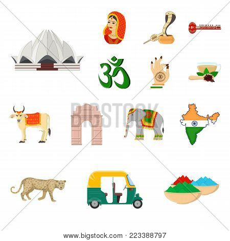 Country India cartoon icons in set collection for design.India and landmark vector symbol stock illustration.