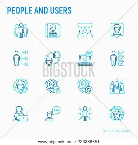 People and users thin line icons set: management, communication, human resources, teamwork, candidate. Modern vector illustration.