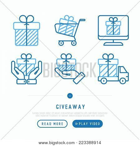 Giveaway or gifts thin line icons set: present in hand, trolley, cart, truck. Modern vector illustration, web page template.