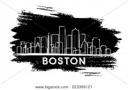 Boston Massachusetts USA City Skyline Silhouette. Hand Drawn Sketch. Business Travel and Tourism Concept with Modern Architecture. Boston Cityscape with Landmarks.