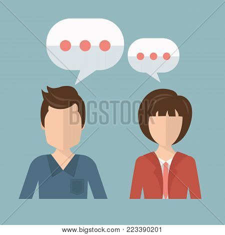 Businessman and businesswoman talking, discussing. Concept for chat, talking, support. Flat vector illustration