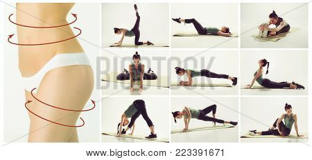 The collage from images of beautiful slim woman doing stretching gymnastics at the gym. Fitness, stretching, pilates concepts