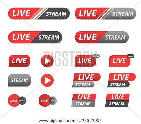 Live Stream icon set. Online stream badge or emblem
