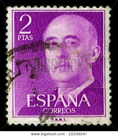 SPAIN-CIRCA 1975:A stamp printed in SPAIN shows image of Francisco Paulino Hermenegildo Teodulo Franco y Bahamonde, was a Spanish dictator, military general and head of state of Spain, circa 1975.