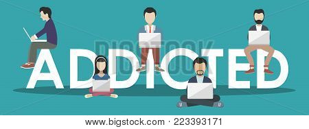 Social media concept. Addicted people concept. Illustration of young people using lap tops. Flat design of people addicted to gadgets sitting on letters.