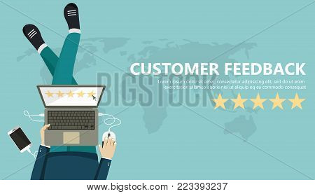 Rating on customer service illustration. Man sitting on the floor and holding tablet in his lap. Website rating feedback and review concept. Flat vector illustration