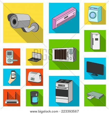 Smart home appliances flat icons in set collection for design. Modern household appliances vector symbol stock illustration.