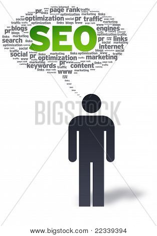 Paper Man With Seo Speech Bubble